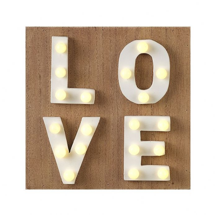 50% off LED Natural Wooden Light Up Square Sign LOVE